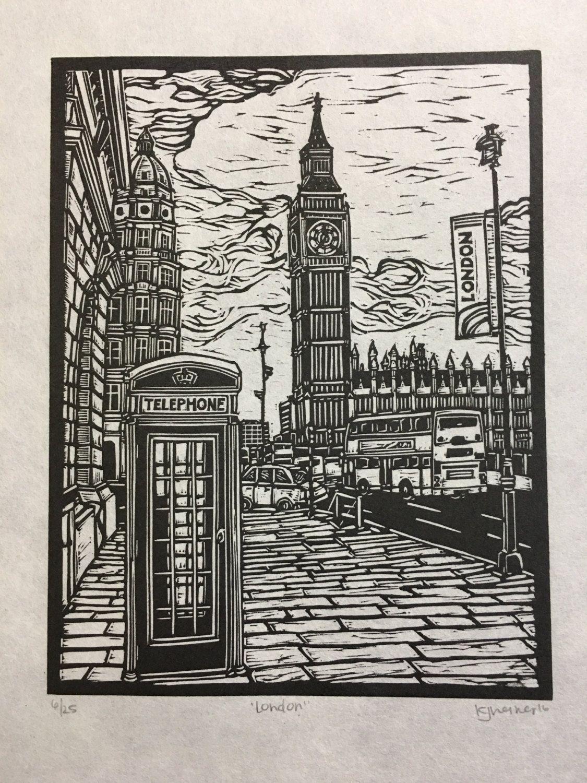Original Linocut Print Of London England With Big Ben And