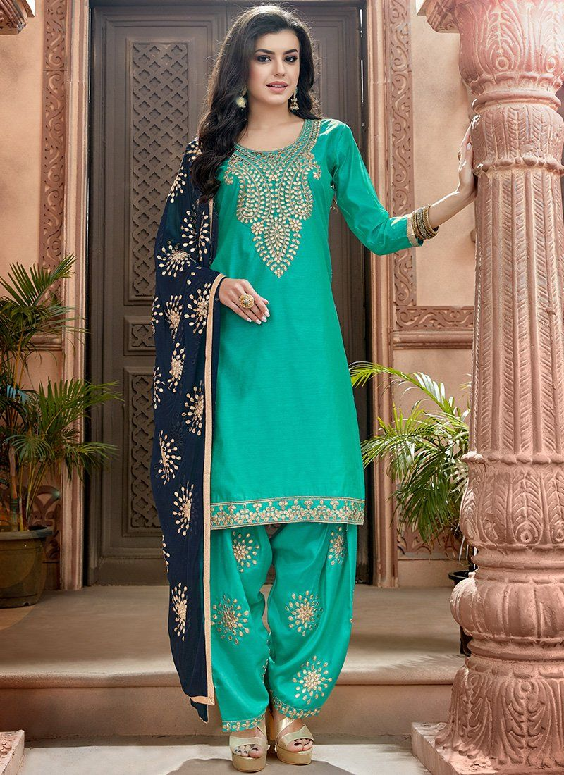 296de3ceb4 Turquoise and Blue Embroidered Chanderi Punjabi Suit in 2019 ...