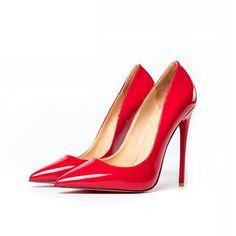 Elegancka Czerwone Wieczorowe Czolenka 2019 Skory Lakierowanej 12 Cm Szpilki Szpiczaste Czolenka In 2020 Stiletto Heels Heels Pointed Toe Pumps