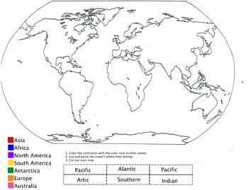 Color The Continents And Label The 5 Oceans Free Printable World