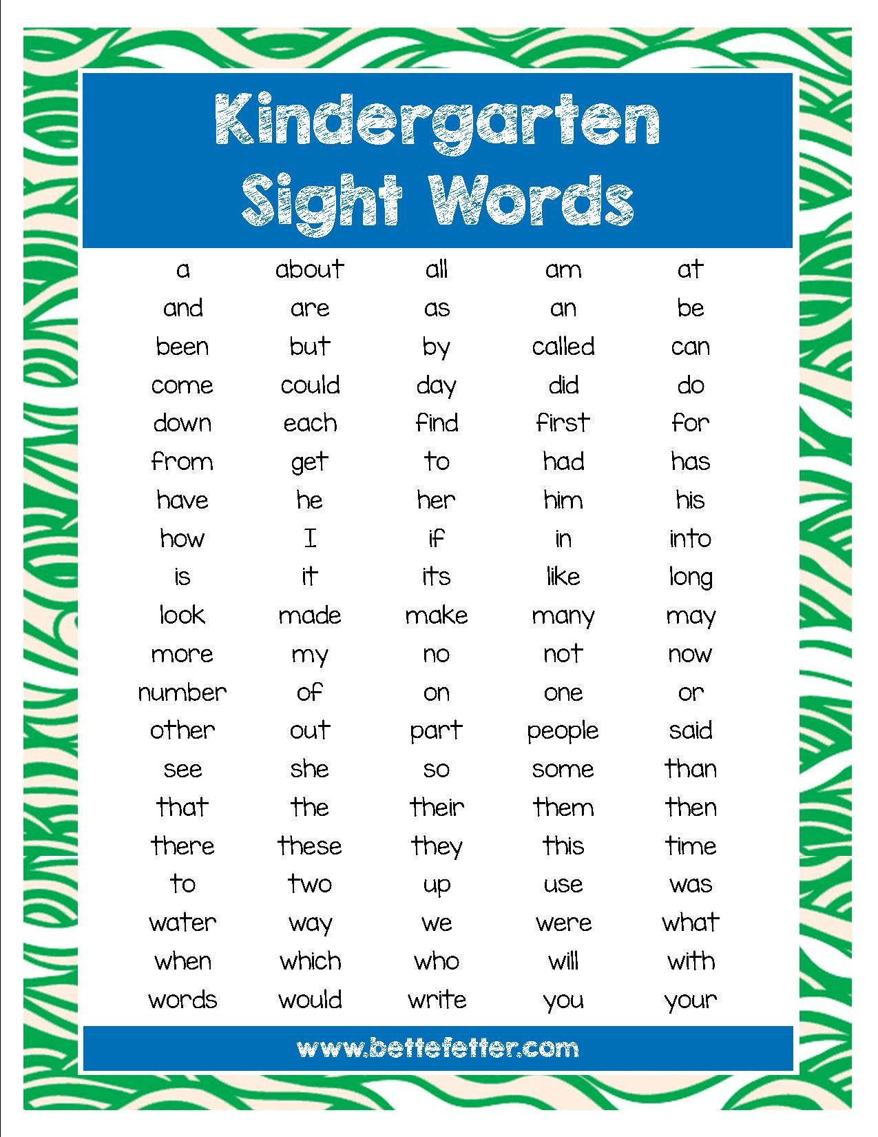 100 sight words your kindergartner or first grader should know.