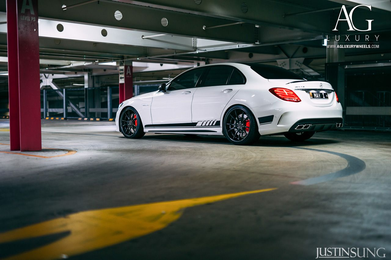 White Mercedes Benz C63 Amg Forged Staggered Concave Black Wheels