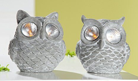 1 x LED-Solar Eule Zement antik-grau 12 cm, Garten, Terasse, Leuchte ...
