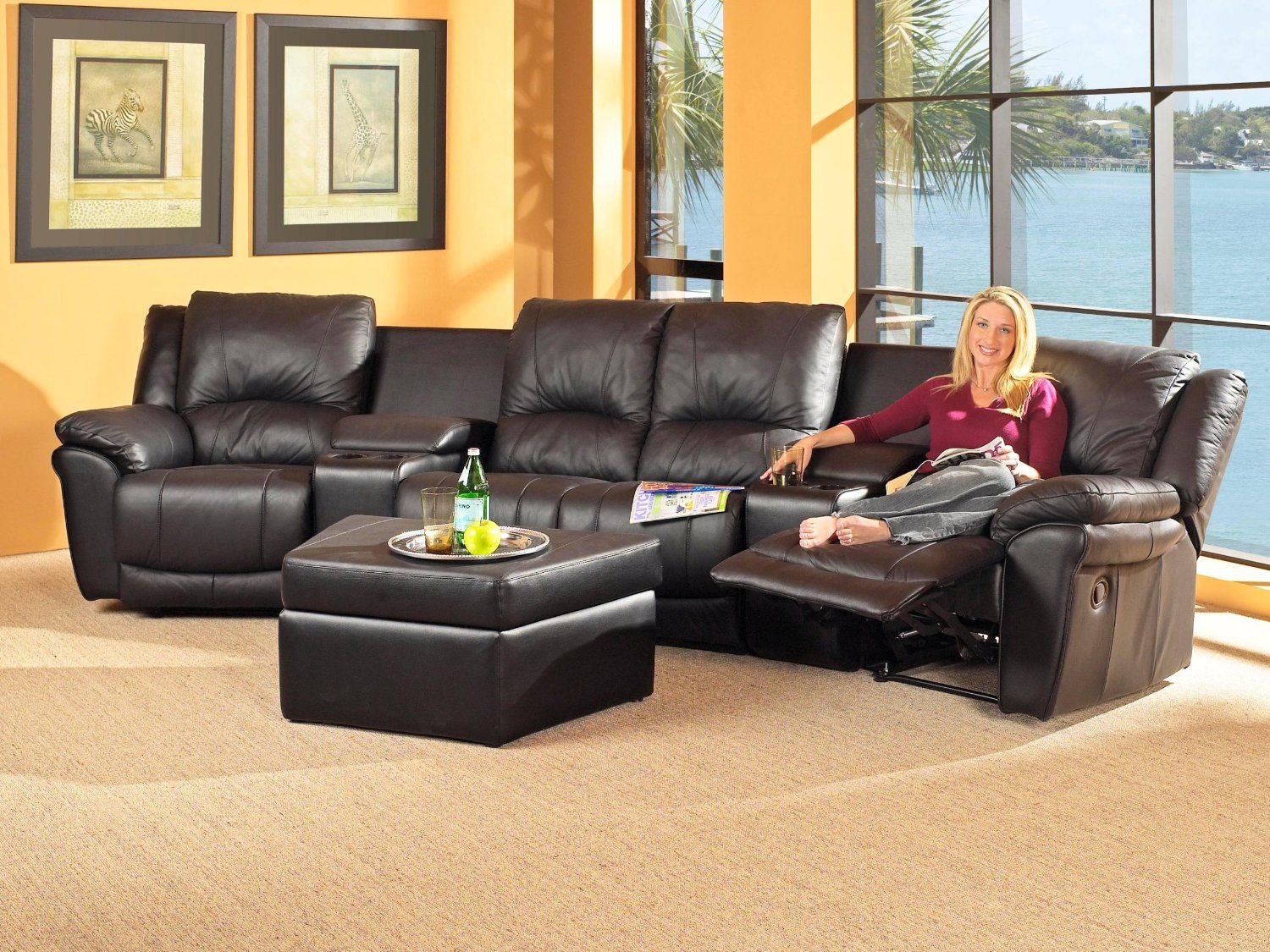 Best Sectional Sofas For Small Spaces Leather Sectional Black 400 x 300