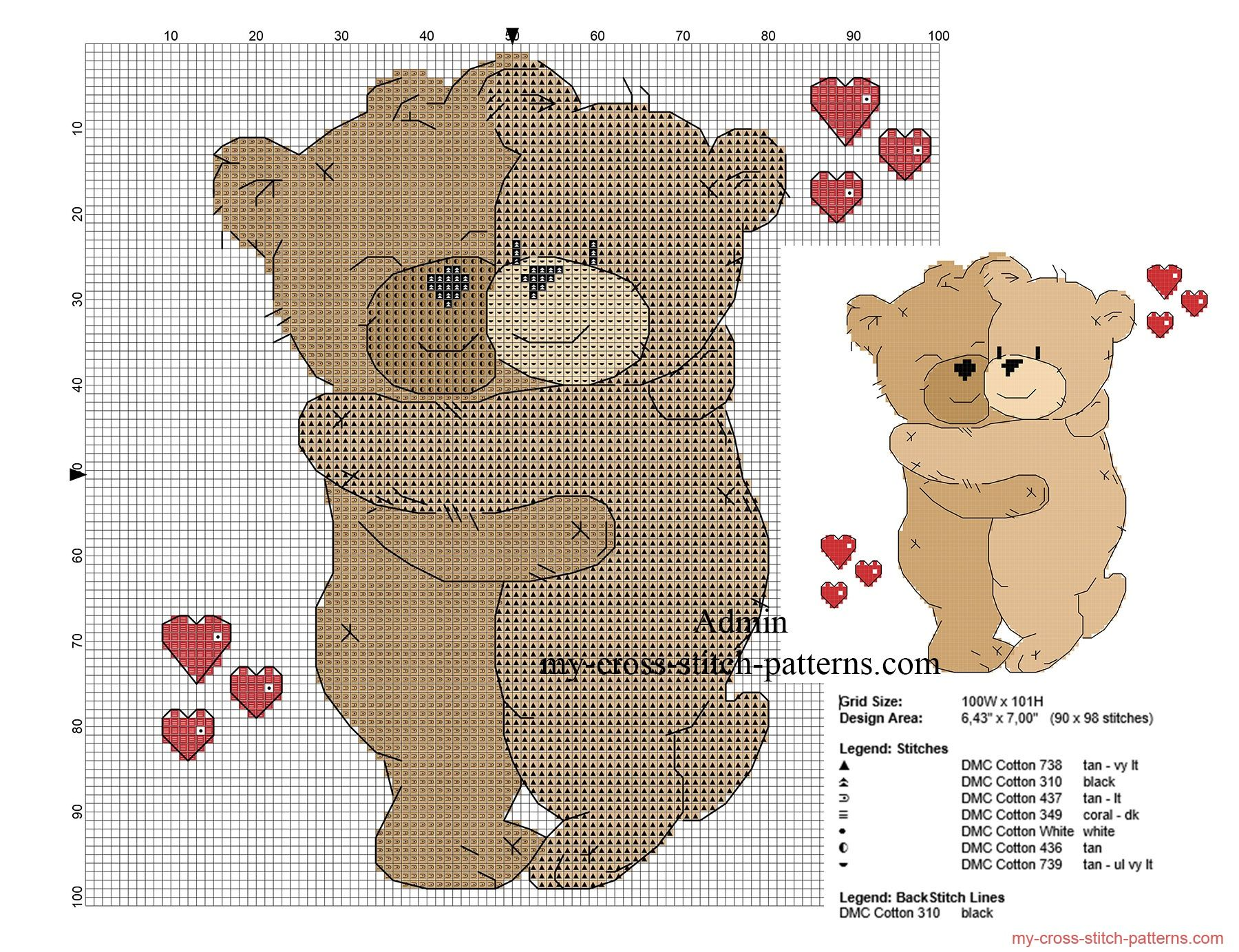 Teddy bears in love hugging free cross stitch pattern