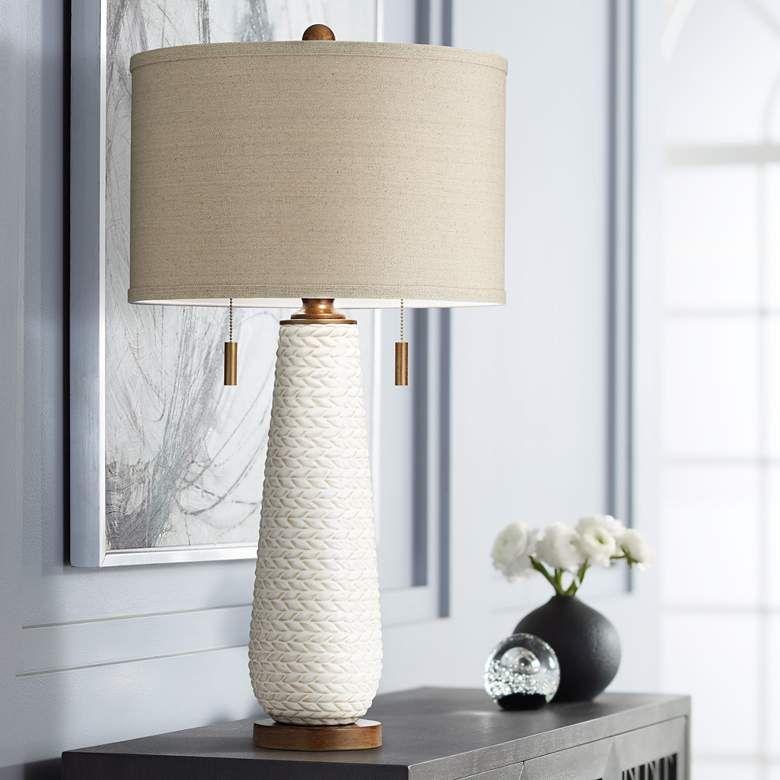 Possini Euro Kingston White Ceramic Pull Chain Table Lamp 79g43 Lamps Plus Mid Century Modern Table Lamps White Table Lamp Modern Table Lamp