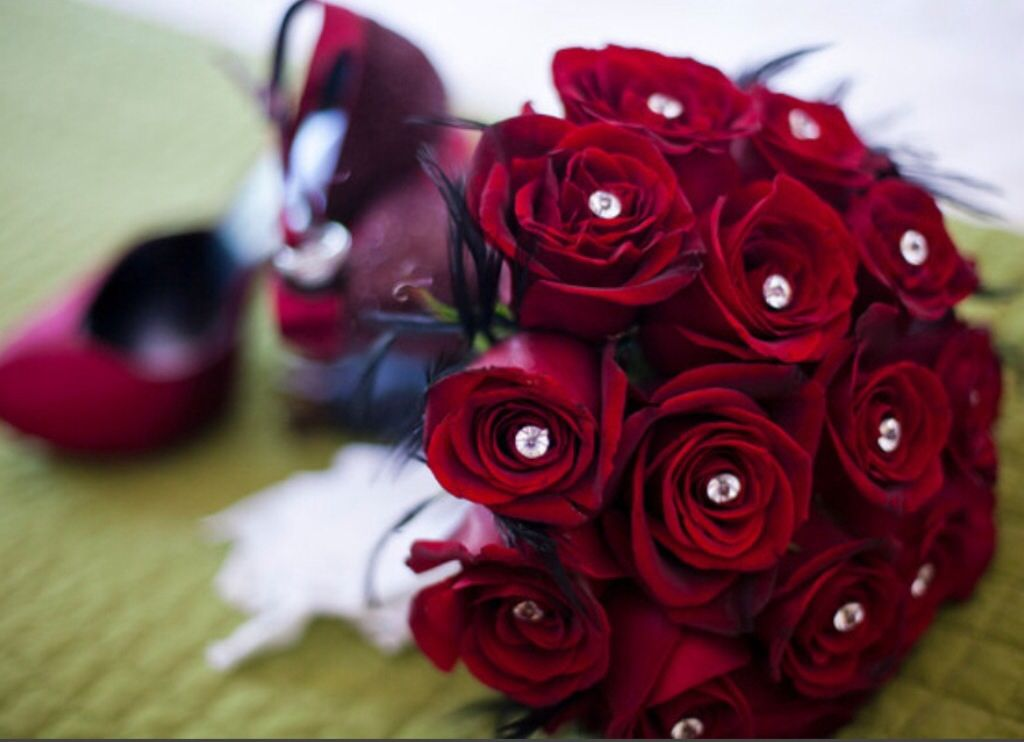 For the Valentines Bride , red roses scream passion and romance.Bouquet designed by Lilypots of Lake Geneva.