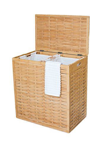 Birdrock Home Oversized Bamboo Divided Laundry Hamper Made Of