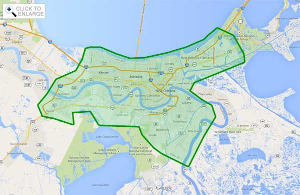 map of greater new orleans This Is Our General Service Area In Greater New Orleans Area map of greater new orleans