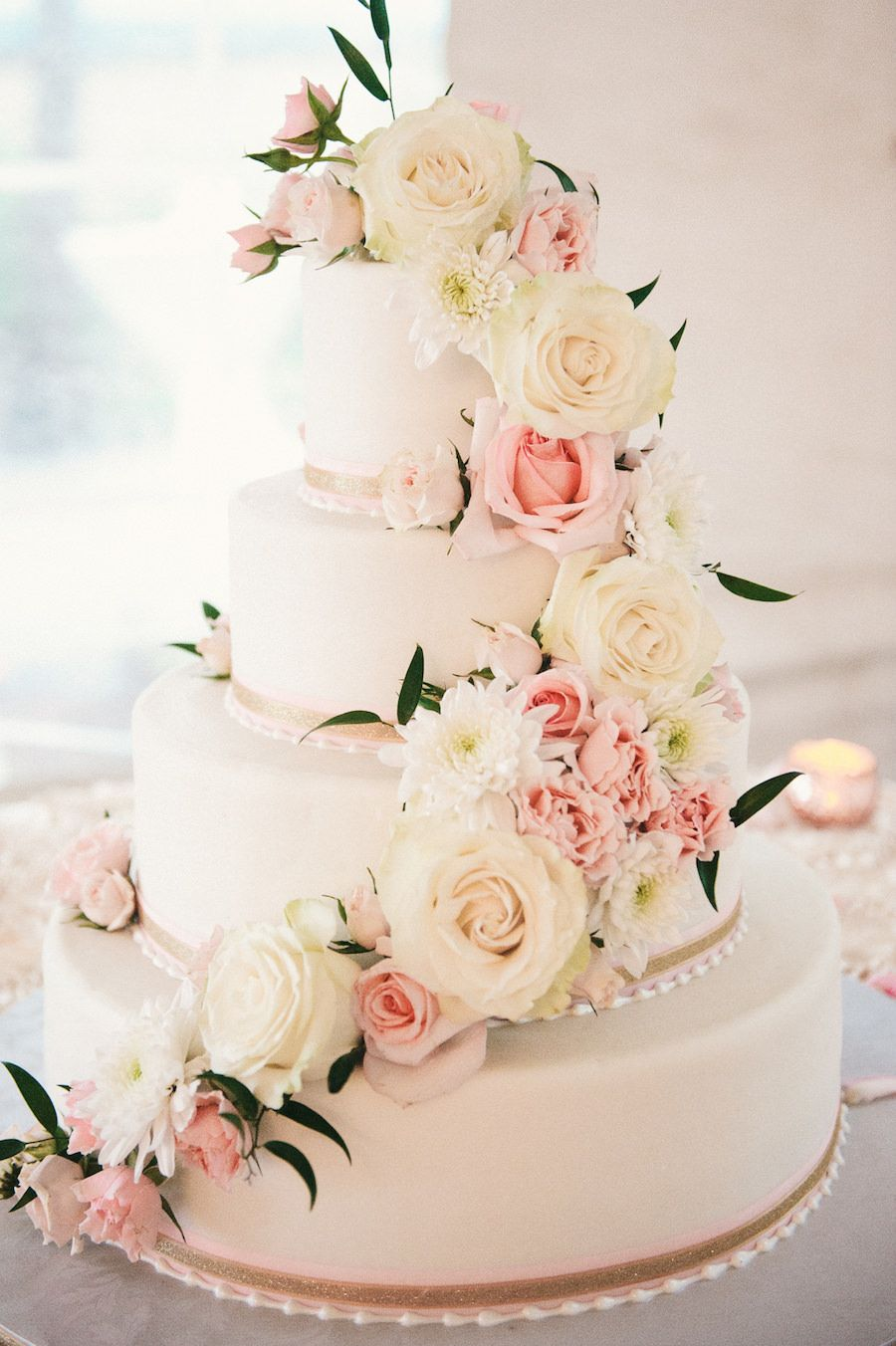 Travel inspired outdoor sarasota wedding mmtb wedding cakes four tier round white and blush pink wedding cake with fresh flower roses and pearl decoration on specialty linen mightylinksfo