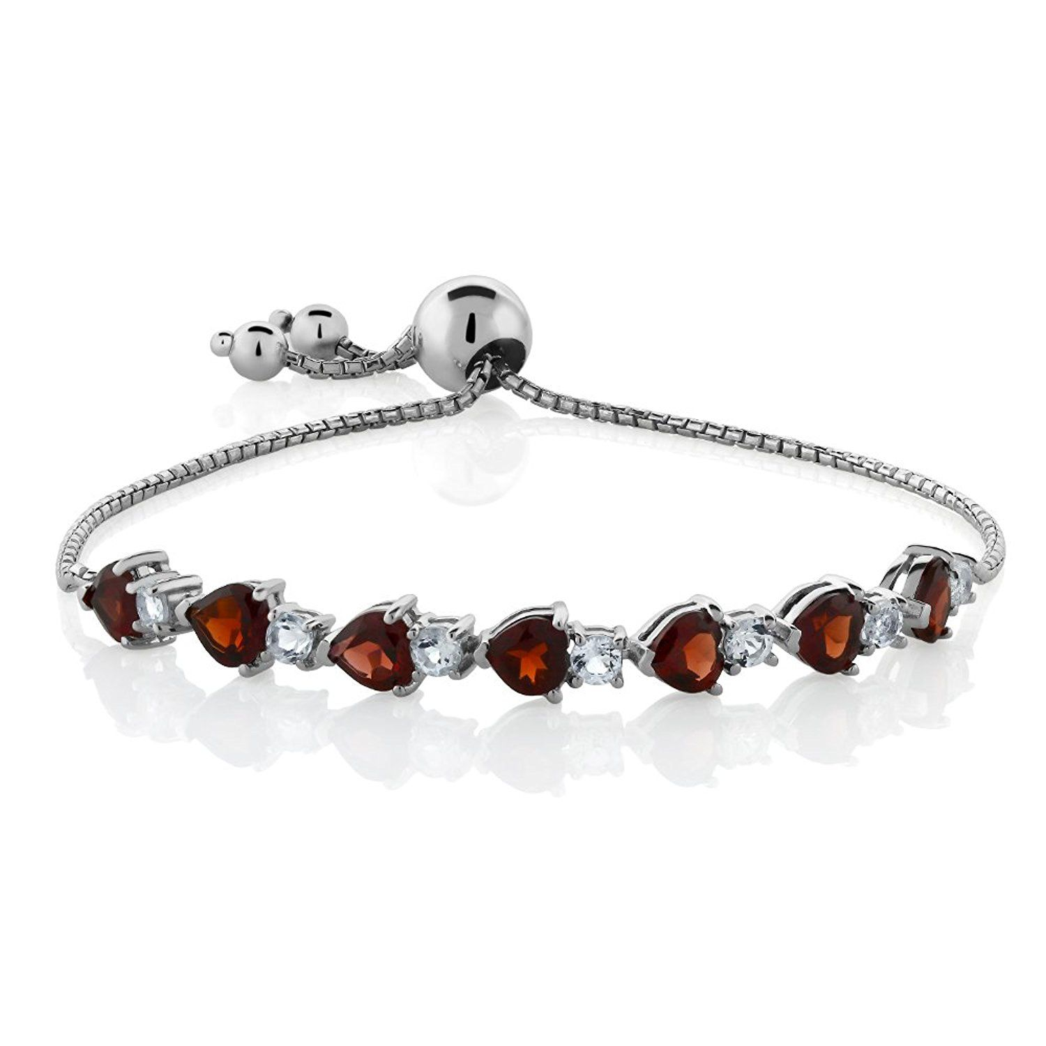 adjustable silver inch sterling cttw bracelet genuine heart garnet red shape pin