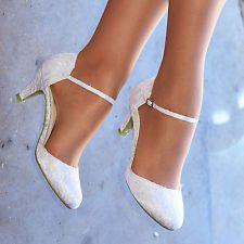 Ladies White Lace Ankle Strap Pumps Womens Low Heel Bridal Wedding Shoes S30488