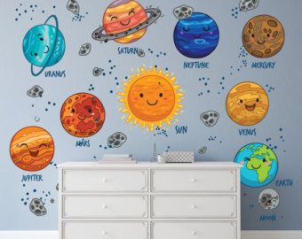 Kids Solar System Decals / Kids Solar System Bedroom Decal / Cartoon ...