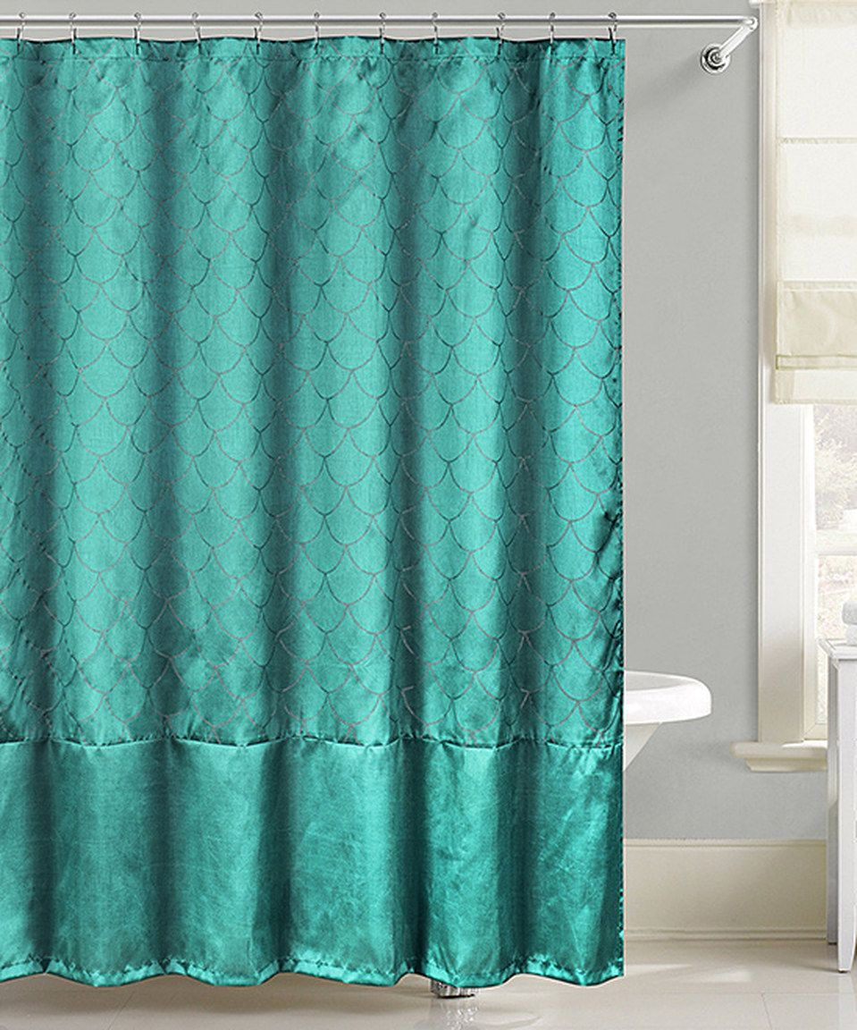 Teal Fish Scales Metallic Floral Shower Curtain Mermaid Shower