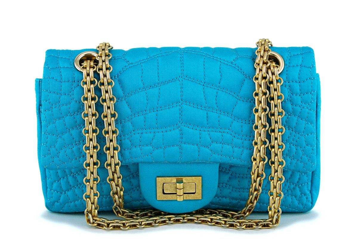 60ef15c263db Chanel Turquoise Blue Small/Mini Satin 224 Classic 2.55 Reissue Flap Bag GHW