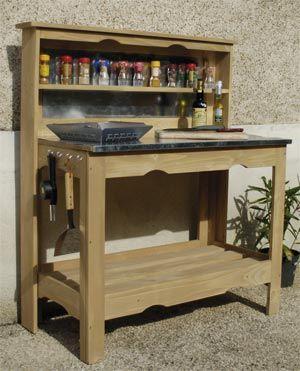 Table A Plancha En Bois Et Zinc Meuble Plancha Plancher En Bois Table Plancha