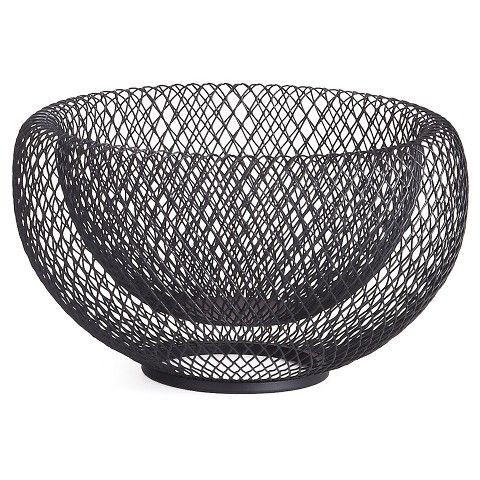 Contemporary Decorative Bowls Torre & Tagus Mesh Double Wall Decorative Bowl  Black  Home