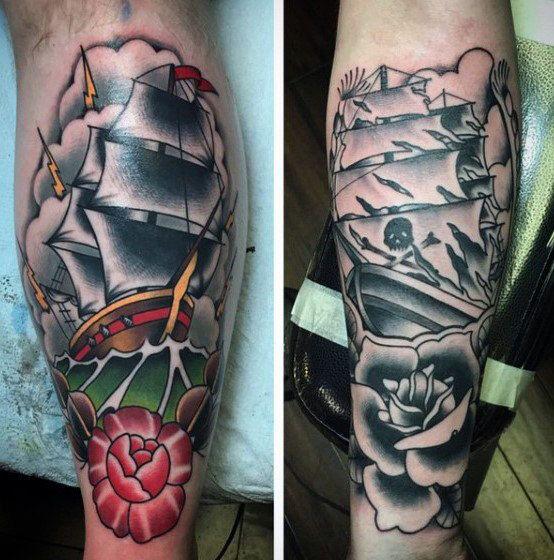 50 traditionelle Bein Tattoos für Männer - Manly Old