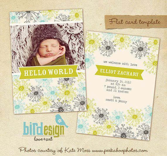 Birth announcement template  Dandelion  E311 by birdesign on Etsy, $8.00