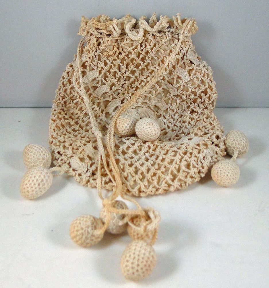 Antique crochet lace drawstring reticule bag #Drawstring ...