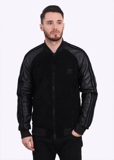 Adidas Originals Apparel Lux SST, chaqueta de cuero de cuero negro