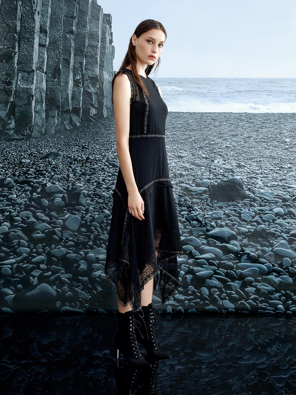 Siyah Kus Gozu Seritli Asimetrik Elbise Iw6190002156001 Ipekyol Elbise Asimetrik Elbise The Dress