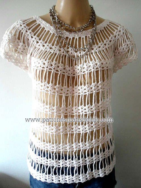 Hermosa Blusa con Bucles de Cadenas / Tutorial Crochet | Crochet y ...