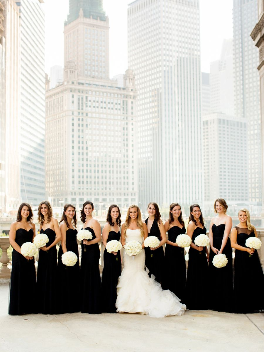 dresses bridesmaid weddings bridesmaids loft chicago winter outfits classic theme stylemepretty weddinginclude bridal chic miss urban parties rocked times flowers