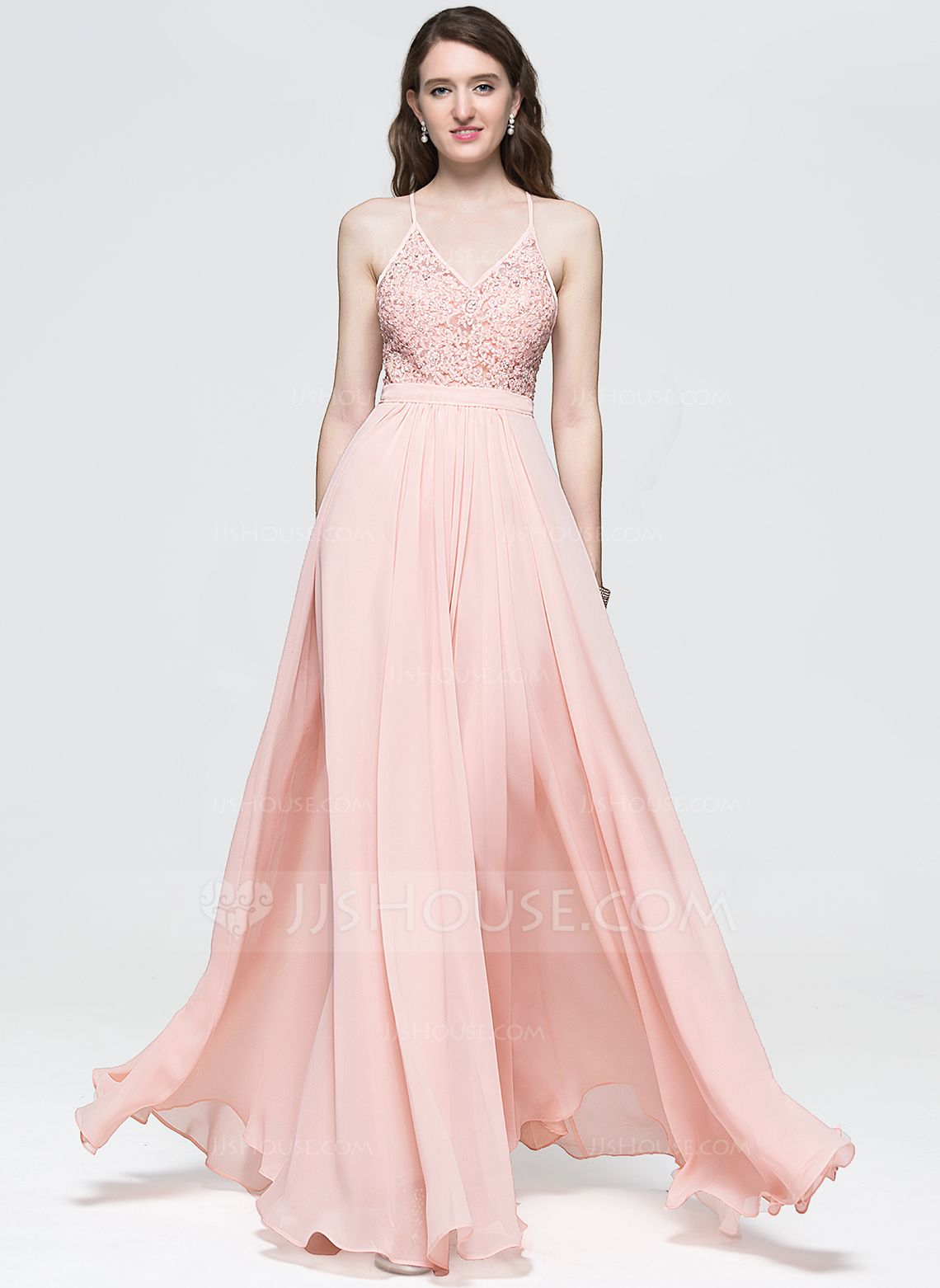 74e3c0f83964 A-Line Princess V-neck Floor-Length Beading Sequins Zipper Up Crossed Straps  Spaghetti Straps Sleeveless No Pearl Pink Spring Summer Fall General Plus  ...