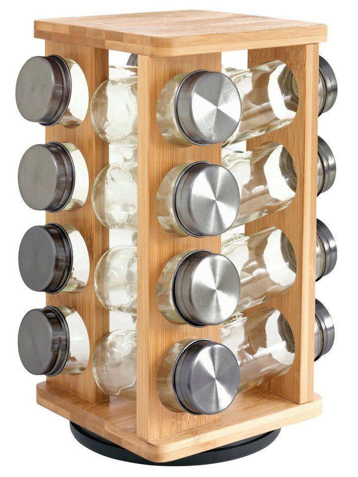 heine home Gewürzregal für 49,90€. Holzgestell aus Bambus, Mit 16 Gewürzgläsern, Gewürzgläser mit Metalldeckel und Dosierer, 360 Grad drehbar bei OTTO