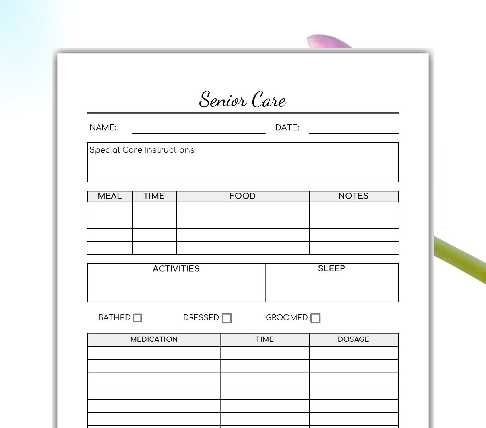 graphic about Printable Caregiver Forms identified as Senior Treatment Printable -Caregiver Kind- Aged Treatment Kind