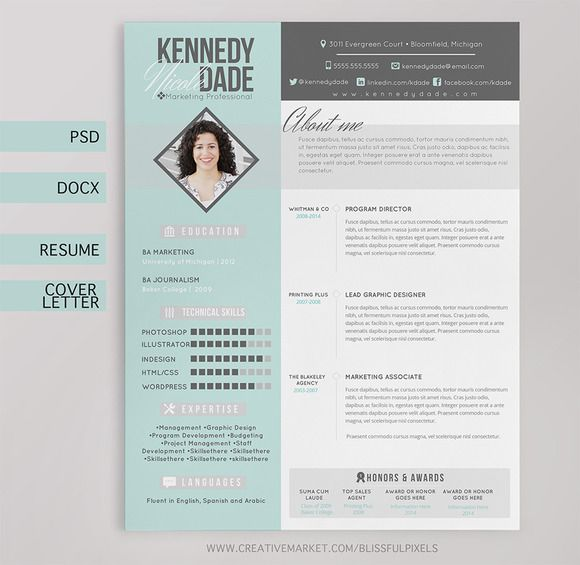 resume cv  u0026 cover letter template by blissful pixels on