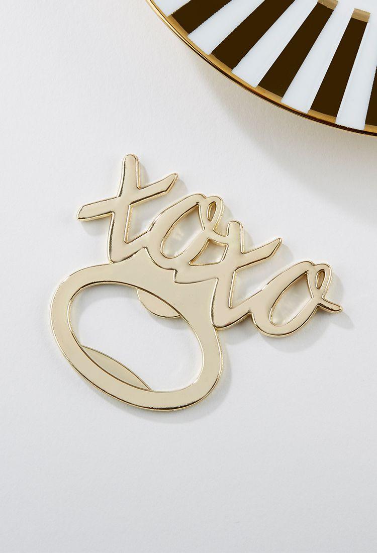 XOXO Gold Bottle Opener | Bottle opener, Kate aspen and Weddings