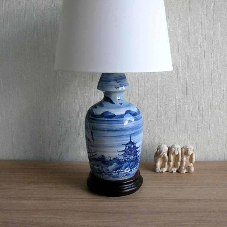 Vintage Blue White Oriental Table Lamp Hand Painted Porcelain Lamp With Wood Base New White Lampshade Chinese Landscape W Pagoda In 2020 White Lamp Shade White Ceramic Lamps Table Lamp