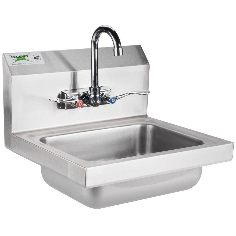 Regency 17 1 4 X 15 1 4 Wall Mounted Hand Sink With Gooseneck Faucet And Wrist Blades Sink Faucet Gooseneck