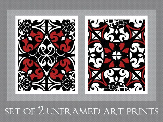 UNFRAMED ART PRINTS    Textile Inspired Art Print Set by Ink and Nectar - Black, White, Red    Art Print Set Details:    • Includes 2 - 8x10 inch