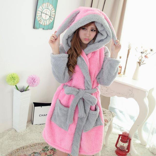 Bath Robe Hooded Robes For Women Dressing Gown Warm Bathrobe Coral ...