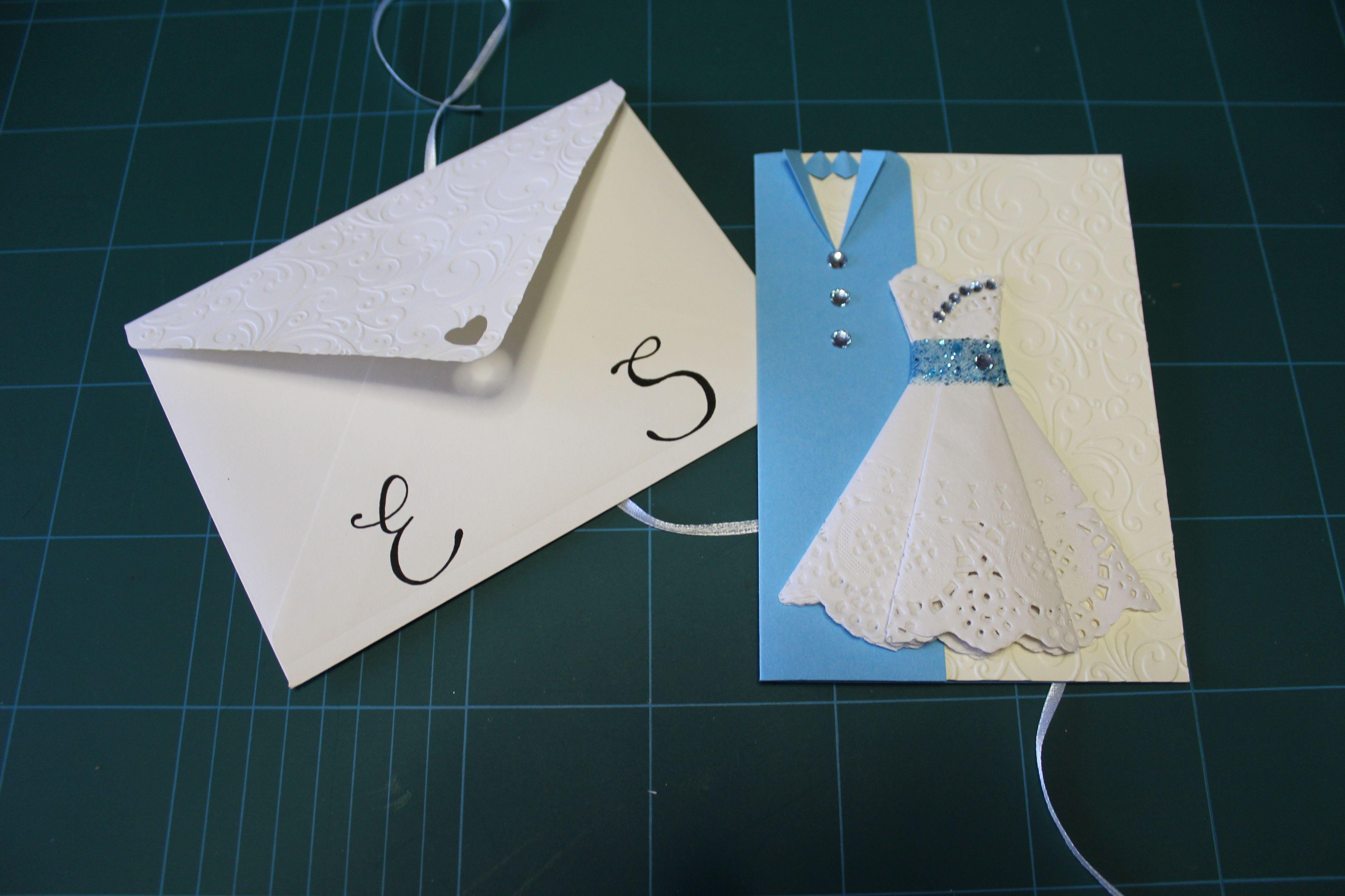 Wedding dress card azzurro/bianco