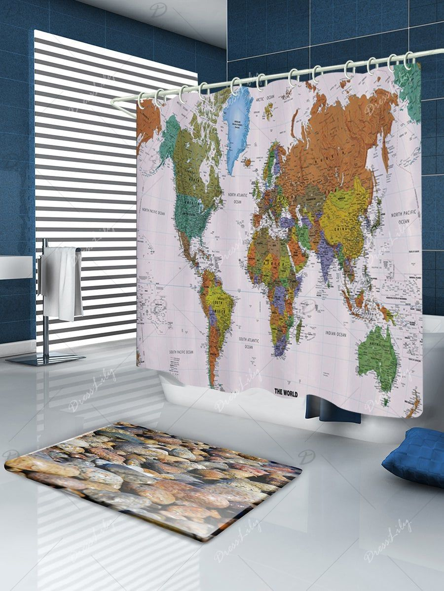 World map pattern fabric bathroom shower curtain fabrics world map pattern fabric bathroom shower curtain gumiabroncs Image collections