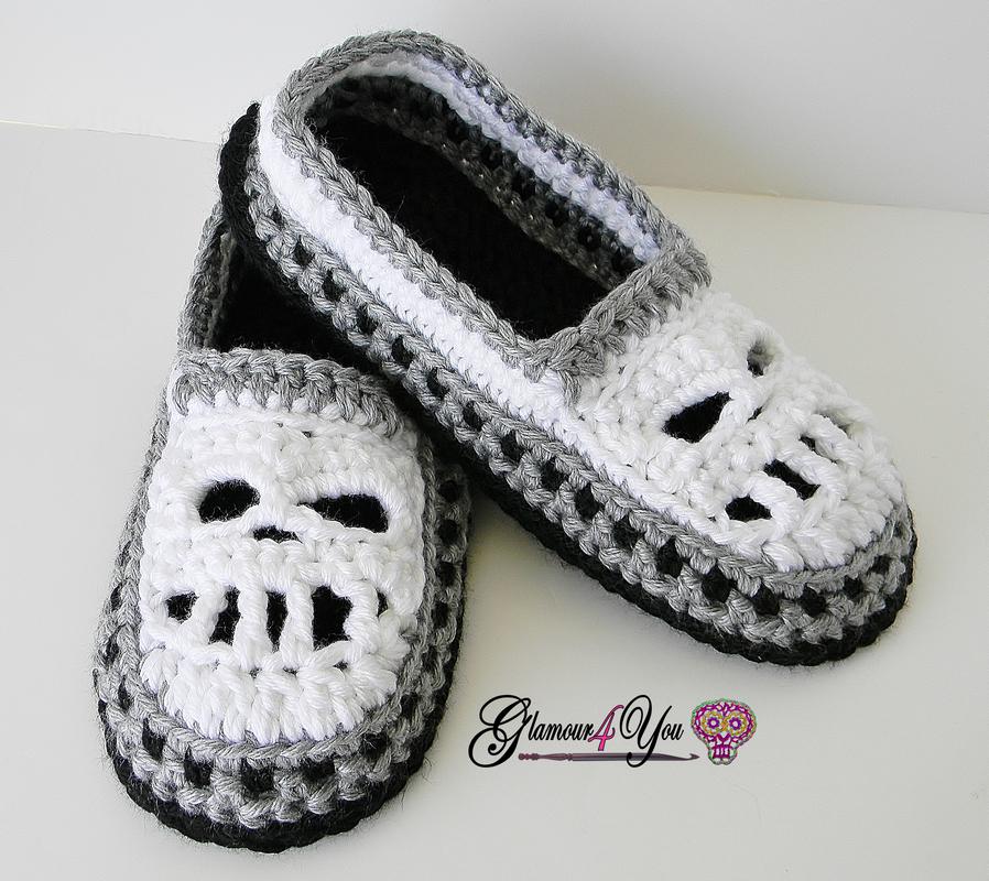 Glamour Skull Slipper Shoes - Men Sizes crochet pattern Giveaway ...