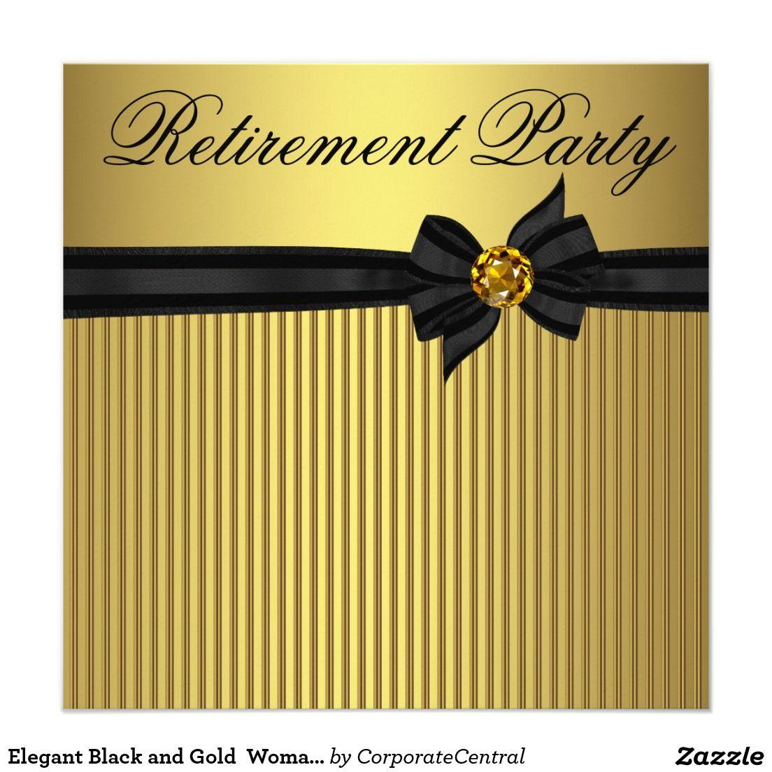 Elegant Black and Gold Womans Retirement Party 5.25x5.25 Square ...