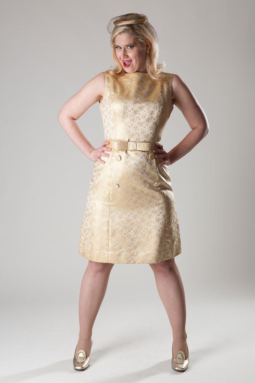 Vintage 1960s Wedding Dress Mod Gold Brocade Mad Men