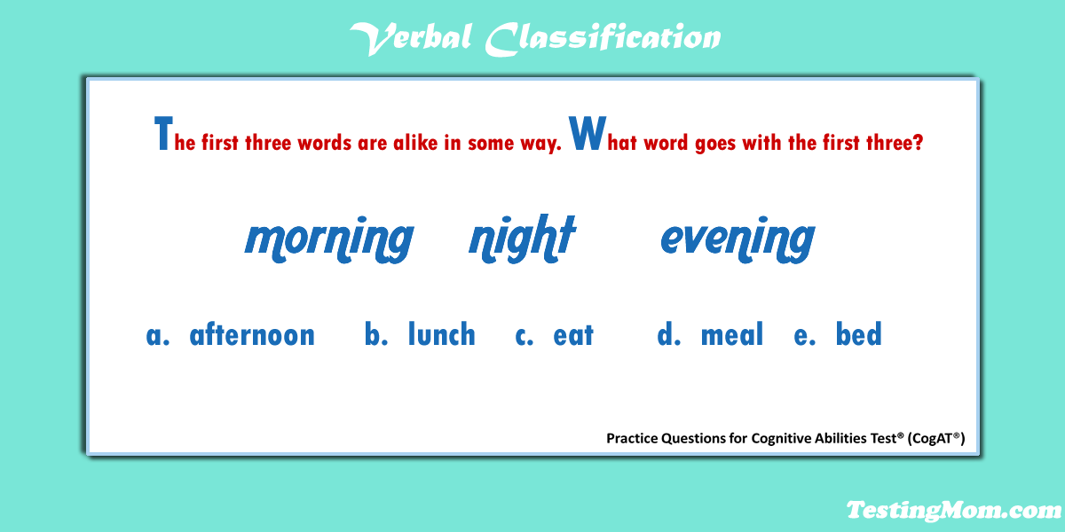 Can Your Child Solve This Verbal Classification Question From The