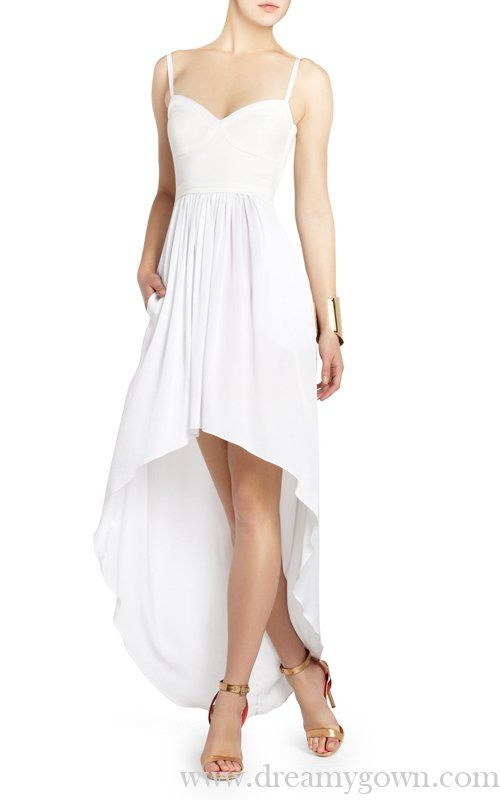 87a58709172 Annamae Bustier Style White BCBG Hi Low Pageant Dress