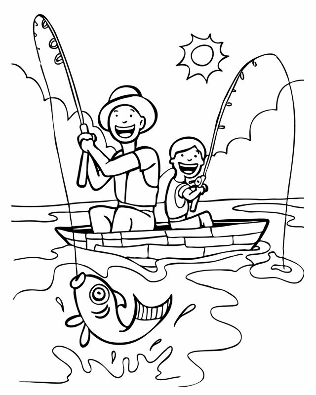 Having Fun Fishing Fathers Day Coloring Page Coloring Pages Fish Coloring Page
