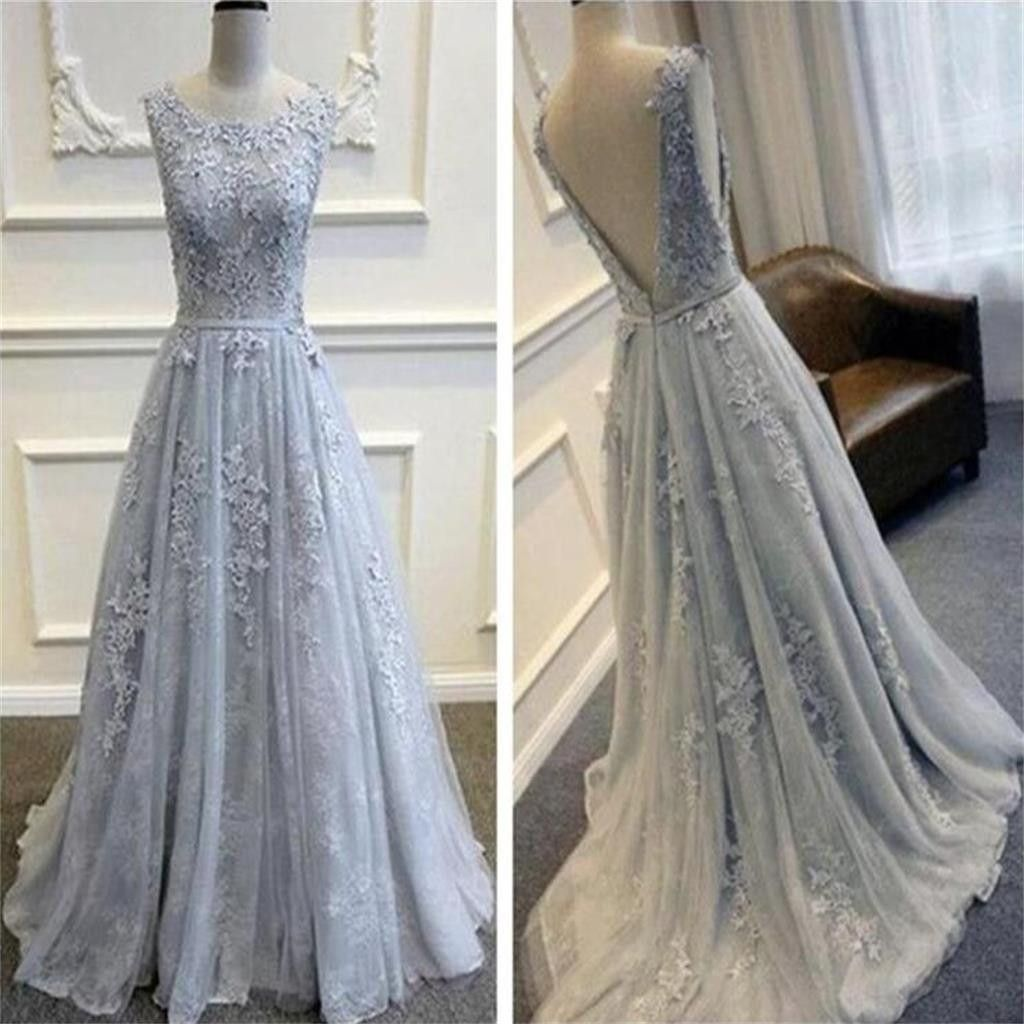 Gray V Back Scoop Tulle Lace Appliques Party Evening Prom