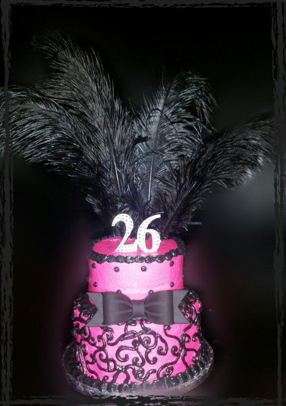 Pink & Black cake with feathers