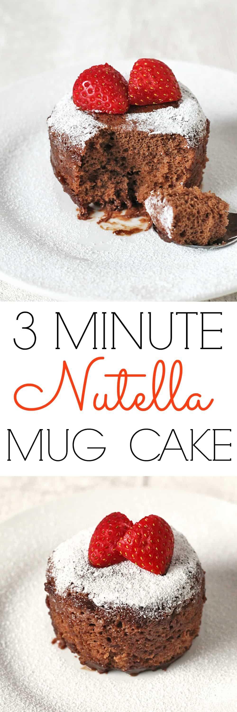 Nutella Microwave Mug Cake; a delicious chocolate and hazelnut mug cake ready in just 3 minutes #mugcake #nutella #cake #comfortfood