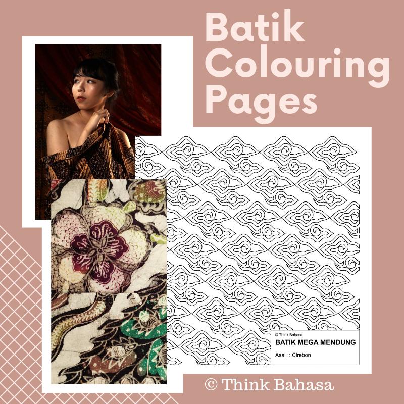 Indonesian Batik Colouring Pages (Batik Printable Patterns