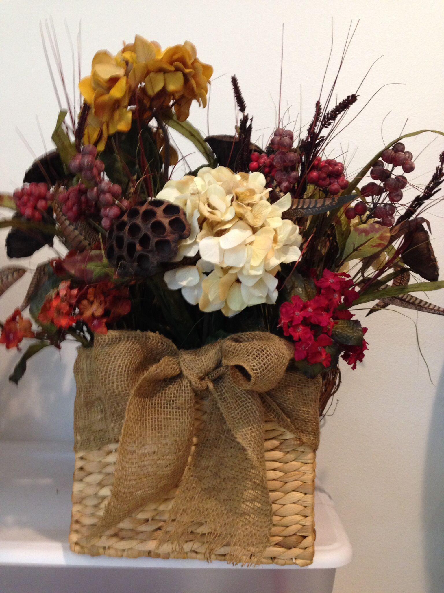 Harvest arrangement in square basket.